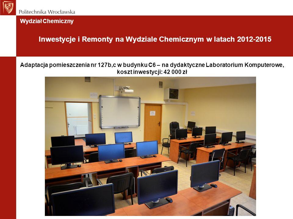 Adaptacja pomieszczenia nr 127b,c w budynku C6 – na dydaktyczne Laboratorium Komputerowe, koszt inwestycji: 42 000 zł Wydział Chemiczny Inwestycje i Remonty na Wydziale Chemicznym w latach 2012-2015