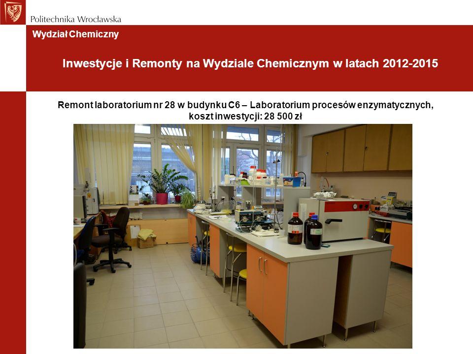 Remont laboratorium nr 28 w budynku C6 – Laboratorium procesów enzymatycznych, koszt inwestycji: 28 500 zł Wydział Chemiczny Inwestycje i Remonty na Wydziale Chemicznym w latach 2012-2015