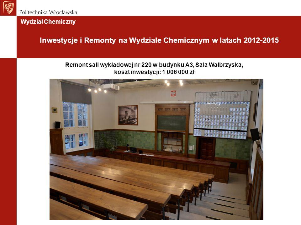 Remont sali wykładowej nr 220 w budynku A3, Sala Wałbrzyska, koszt inwestycji: 1 006 000 zł Wydział Chemiczny Inwestycje i Remonty na Wydziale Chemicznym w latach 2012-2015