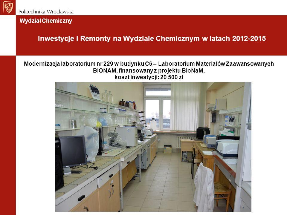 Modernizacja laboratorium nr 229 w budynku C6 – Laboratorium Materiałów Zaawansowanych BIONAM, finansowany z projektu BioNaM, koszt inwestycji: 20 500 zł Wydział Chemiczny Inwestycje i Remonty na Wydziale Chemicznym w latach 2012-2015