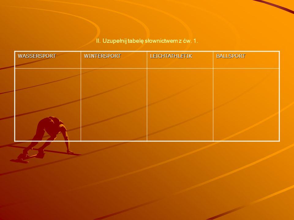 II. Uzupełnij tabelę słownictwem z ćw. 1. WASSERSPORTWINTERSPORTLEICHTATHLETIKBALLSPORT