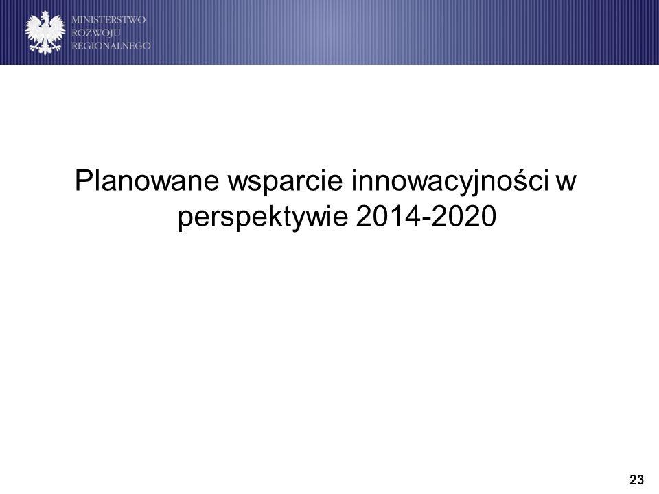 23 Planowane wsparcie innowacyjności w perspektywie 2014-2020