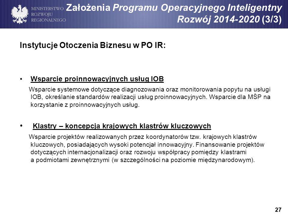 27 Instytucje Otoczenia Biznesu w PO IR: Wsparcie proinnowacyjnych usług IOB Wsparcie systemowe dotyczące diagnozowania oraz monitorowania popytu na usługi IOB, określanie standardów realizacji usług proinnowacyjnych.