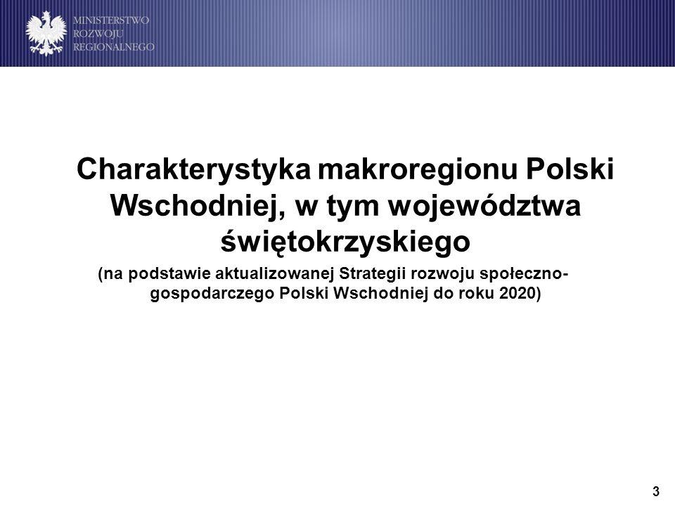 3 Charakterystyka makroregionu Polski Wschodniej, w tym województwa świętokrzyskiego (na podstawie aktualizowanej Strategii rozwoju społeczno- gospodarczego Polski Wschodniej do roku 2020)
