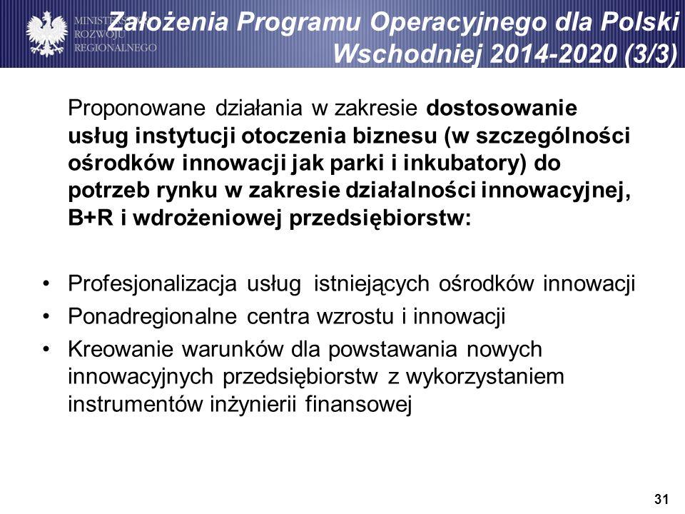 31 Założenia Programu Operacyjnego dla Polski Wschodniej 2014-2020 (3/3) Proponowane działania w zakresie dostosowanie usług instytucji otoczenia biznesu (w szczególności ośrodków innowacji jak parki i inkubatory) do potrzeb rynku w zakresie działalności innowacyjnej, B+R i wdrożeniowej przedsiębiorstw: Profesjonalizacja usług istniejących ośrodków innowacji Ponadregionalne centra wzrostu i innowacji Kreowanie warunków dla powstawania nowych innowacyjnych przedsiębiorstw z wykorzystaniem instrumentów inżynierii finansowej