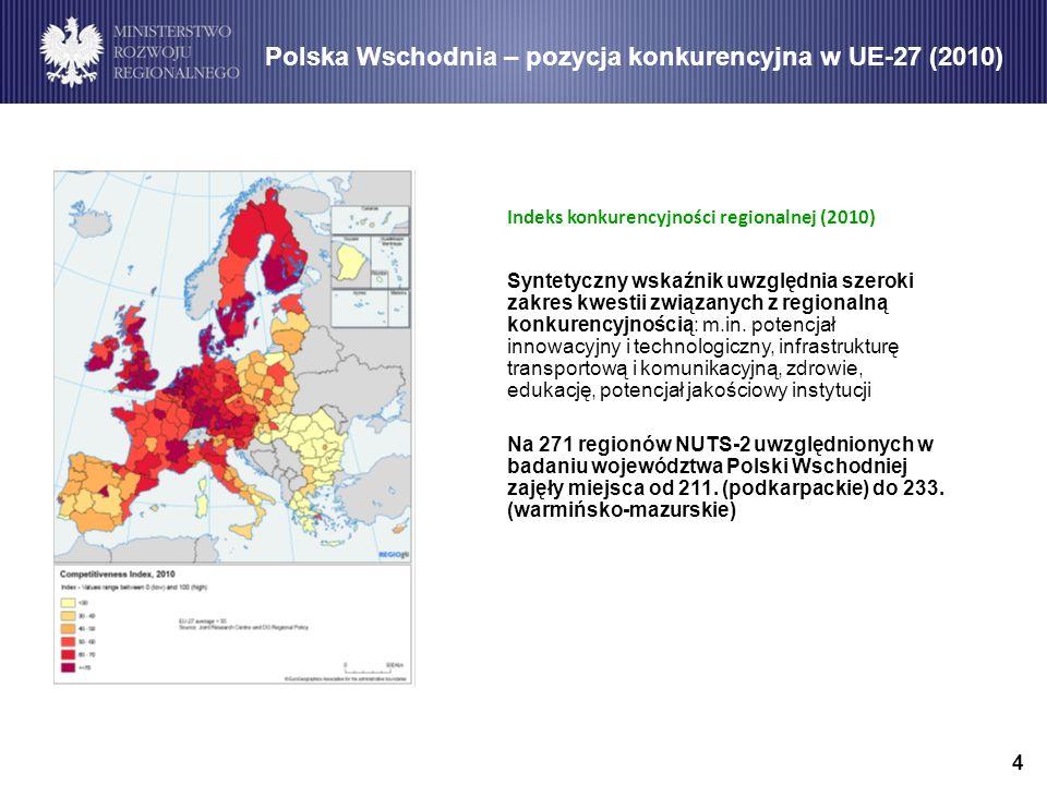 4 Polska Wschodnia – pozycja konkurencyjna w UE-27 (2010) Indeks konkurencyjności regionalnej (2010) Syntetyczny wskaźnik uwzględnia szeroki zakres kwestii związanych z regionalną konkurencyjnością: m.in.