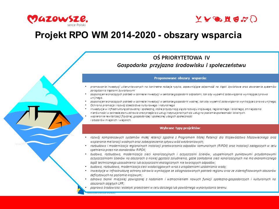 1031 maja 2016 Płock, OŚ PRIORYTETOWA IV Gospodarka przyjazna środowisku i społeczeństwu Proponowane obszary wsparcia: promowanie inwestycji ukierunko