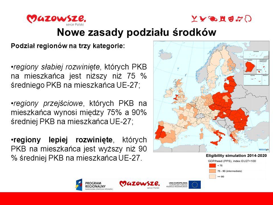 Podział regionów na trzy kategorie: regiony słabiej rozwinięte, których PKB na mieszkańca jest niższy niż 75 % średniego PKB na mieszkańca UE-27; regiony przejściowe, których PKB na mieszkańca wynosi między 75% a 90% średniej PKB na mieszkańca UE-27; regiony lepiej rozwinięte, których PKB na mieszkańca jest wyższy niż 90 % średniej PKB na mieszkańca UE-27.
