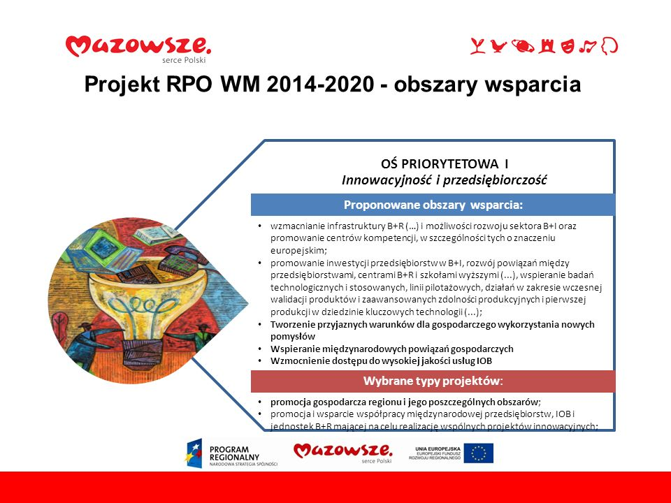 Projekt RPO WM 2014-2020 - obszary wsparcia 731 maja 2016Płock, OŚ PRIORYTETOWA I Innowacyjność i przedsiębiorczość Proponowane obszary wsparcia: wzmacnianie infrastruktury B+R (…) i możliwości rozwoju sektora B+I oraz promowanie centrów kompetencji, w szczególności tych o znaczeniu europejskim; promowanie inwestycji przedsiębiorstw w B+I, rozwój powiązań między przedsiębiorstwami, centrami B+R i szkołami wyższymi (...), wspieranie badań technologicznych i stosowanych, linii pilotażowych, działań w zakresie wczesnej walidacji produktów i zaawansowanych zdolności produkcyjnych i pierwszej produkcji w dziedzinie kluczowych technologii (...); Tworzenie przyjaznych warunków dla gospodarczego wykorzystania nowych pomysłów Wspieranie międzynarodowych powiązań gospodarczych Wzmocnienie dostępu do wysokiej jakości usług IOB Wybrane typy projektów: promocja gospodarcza regionu i jego poszczególnych obszarów; promocja i wsparcie współpracy międzynarodowej przedsiębiorstw, IOB i jednostek B+R mającej na celu realizację wspólnych projektów innowacyjnych;