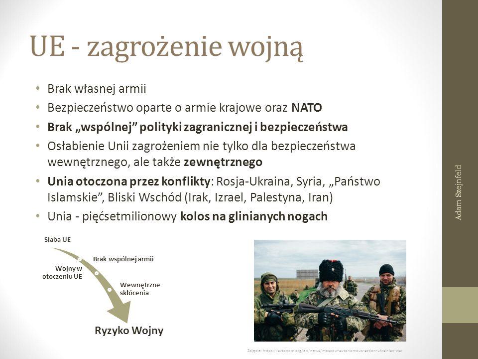"""UE - zagrożenie wojną Brak własnej armii Bezpieczeństwo oparte o armie krajowe oraz NATO Brak """"wspólnej polityki zagranicznej i bezpieczeństwa Osłabienie Unii zagrożeniem nie tylko dla bezpieczeństwa wewnętrznego, ale także zewnętrznego Unia otoczona przez konflikty: Rosja-Ukraina, Syria, """"Państwo Islamskie , Bliski Wschód (Irak, Izrael, Palestyna, Iran) Unia - pięćsetmilionowy kolos na glinianych nogach Słaba UE Brak wspólnej armii Wojny w otoczeniu UE Wewnętrzne skłócenia Ryzyko Wojny Zdjęcie: https://avtonom.org/en/news/moscow-autonomous-action-ukrainian-war Adam Szejnfeld"""