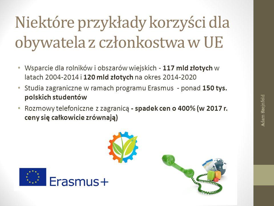 Niektóre przykłady korzyści dla obywatela z członkostwa w UE Wsparcie dla rolników i obszarów wiejskich - 117 mld złotych w latach 2004-2014 i 120 mld złotych na okres 2014-2020 Studia zagraniczne w ramach programu Erasmus - ponad 150 tys.
