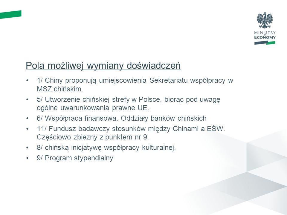 Pola możliwej wymiany doświadczeń 1/ Chiny proponują umiejscowienia Sekretariatu współpracy w MSZ chińskim.