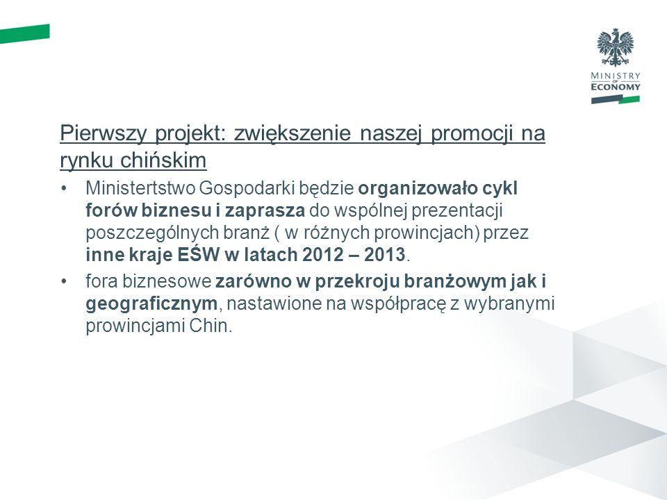 Pierwszy projekt: zwiększenie naszej promocji na rynku chińskim Ministertstwo Gospodarki będzie organizowało cykl forów biznesu i zaprasza do wspólnej prezentacji poszczególnych branż ( w różnych prowincjach) przez inne kraje EŚW w latach 2012 – 2013.