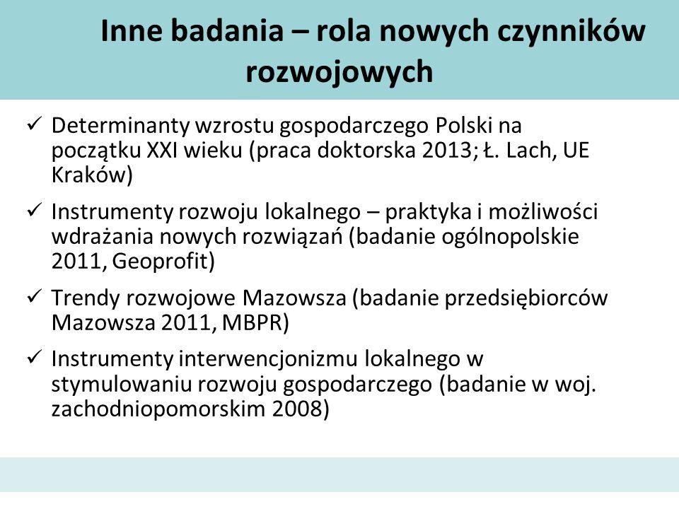 Inne badania – rola nowych czynników rozwojowych Determinanty wzrostu gospodarczego Polski na początku XXI wieku (praca doktorska 2013; Ł. Lach, UE Kr