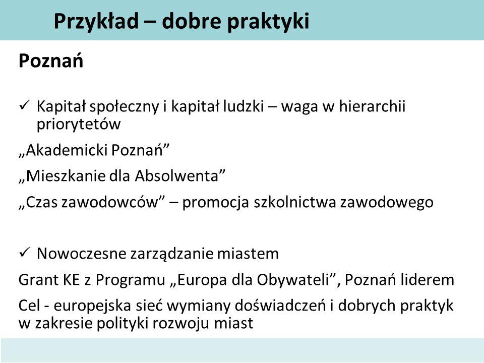 """Przykład – dobre praktyki Poznań Kapitał społeczny i kapitał ludzki – waga w hierarchii priorytetów """"Akademicki Poznań"""" """"Mieszkanie dla Absolwenta"""" """"C"""