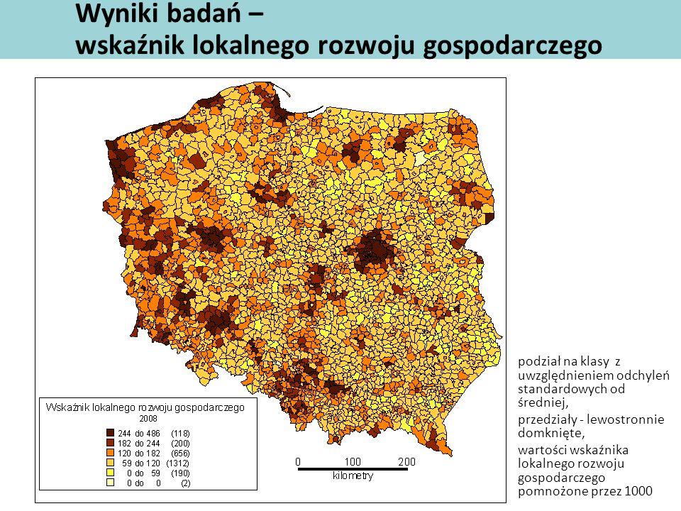 Wyniki badań – wskaźnik lokalnego rozwoju gospodarczego podział na klasy z uwzględnieniem odchyleń standardowych od średniej, przedziały - lewostronni