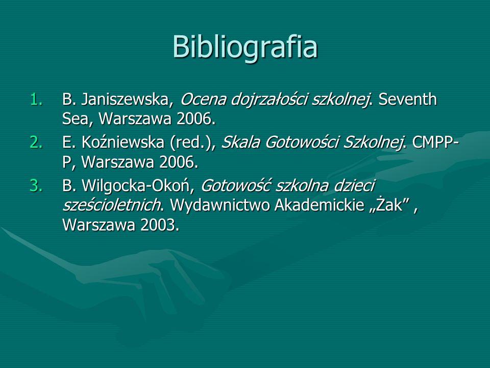 Bibliografia 1.B. Janiszewska, Ocena dojrzałości szkolnej.