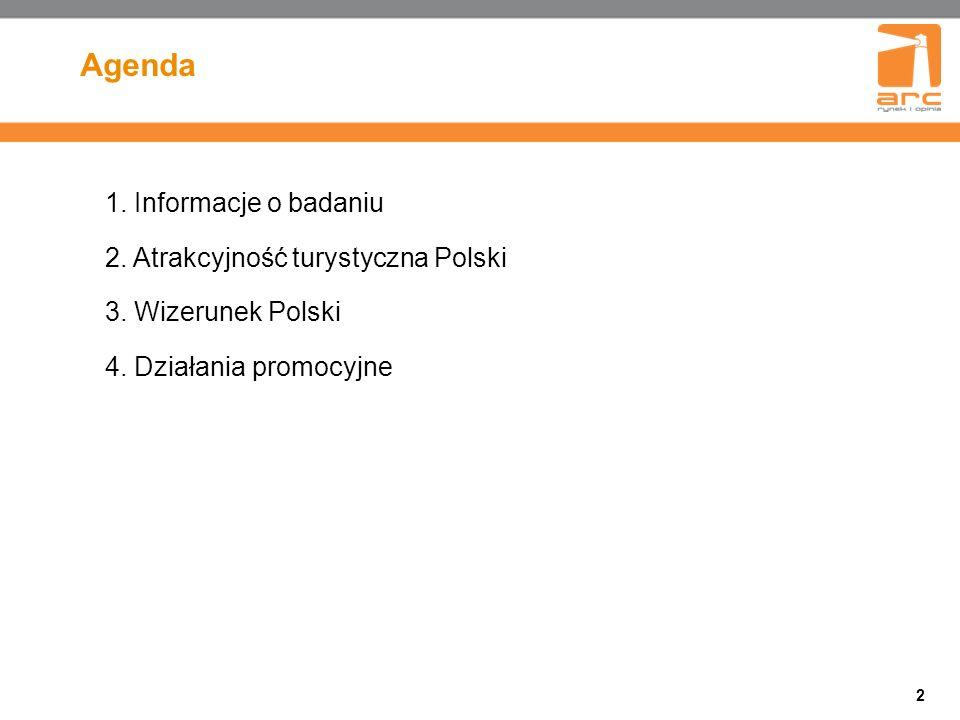 2 Agenda 1. Informacje o badaniu 2. Atrakcyjność turystyczna Polski 3.