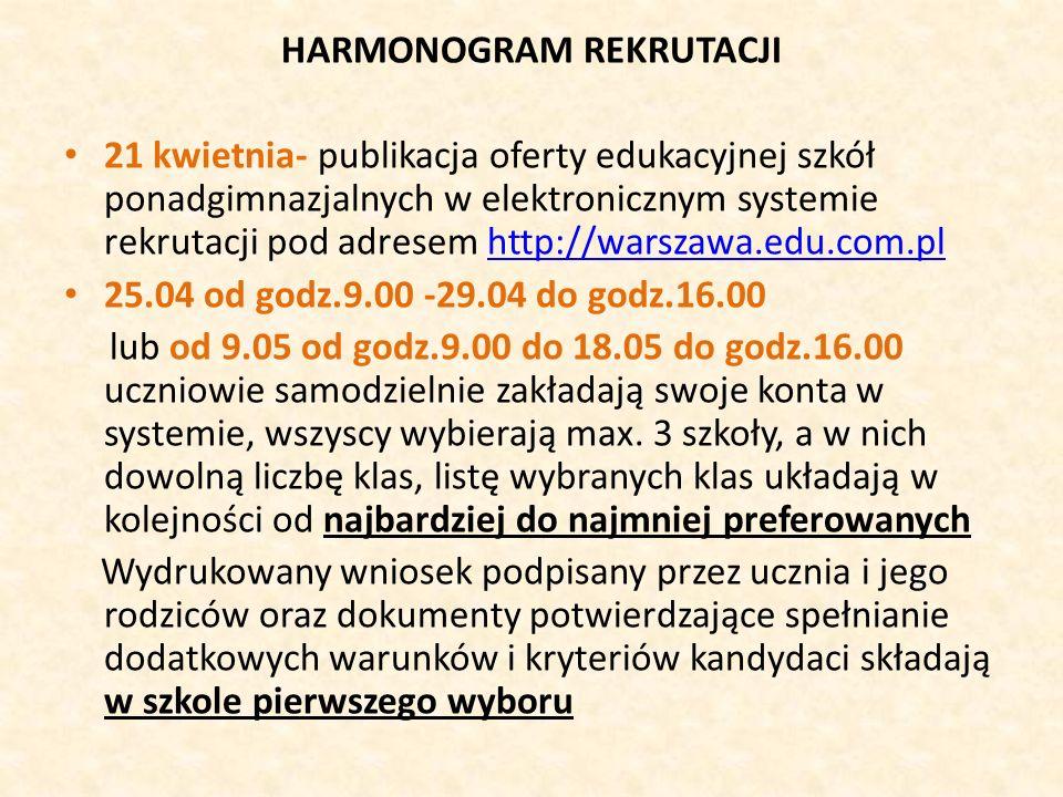 HARMONOGRAM REKRUTACJI 21 kwietnia- publikacja oferty edukacyjnej szkół ponadgimnazjalnych w elektronicznym systemie rekrutacji pod adresem http://warszawa.edu.com.plhttp://warszawa.edu.com.pl 25.04 od godz.9.00 -29.04 do godz.16.00 lub od 9.05 od godz.9.00 do 18.05 do godz.16.00 uczniowie samodzielnie zakładają swoje konta w systemie, wszyscy wybierają max.