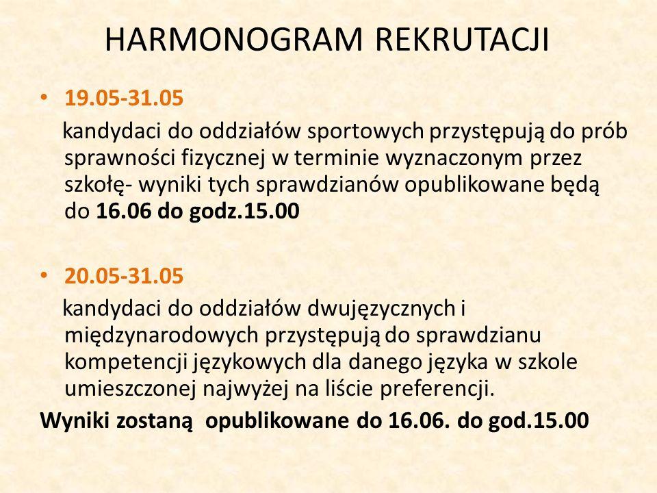 HARMONOGRAM REKRUTACJI 19.05-31.05 kandydaci do oddziałów sportowych przystępują do prób sprawności fizycznej w terminie wyznaczonym przez szkołę- wyniki tych sprawdzianów opublikowane będą do 16.06 do godz.15.00 20.05-31.05 kandydaci do oddziałów dwujęzycznych i międzynarodowych przystępują do sprawdzianu kompetencji językowych dla danego języka w szkole umieszczonej najwyżej na liście preferencji.