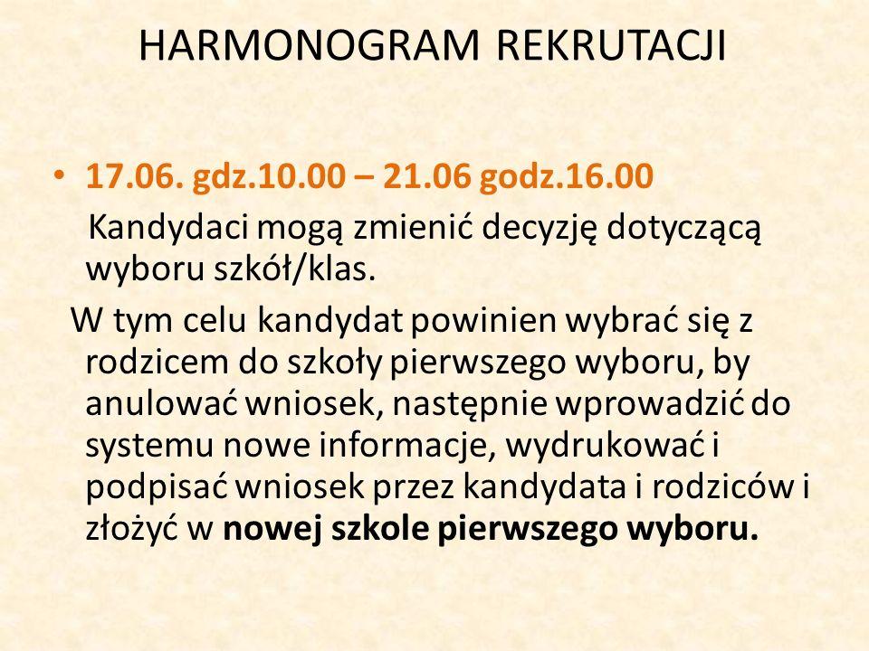 HARMONOGRAM REKRUTACJI 17.06.