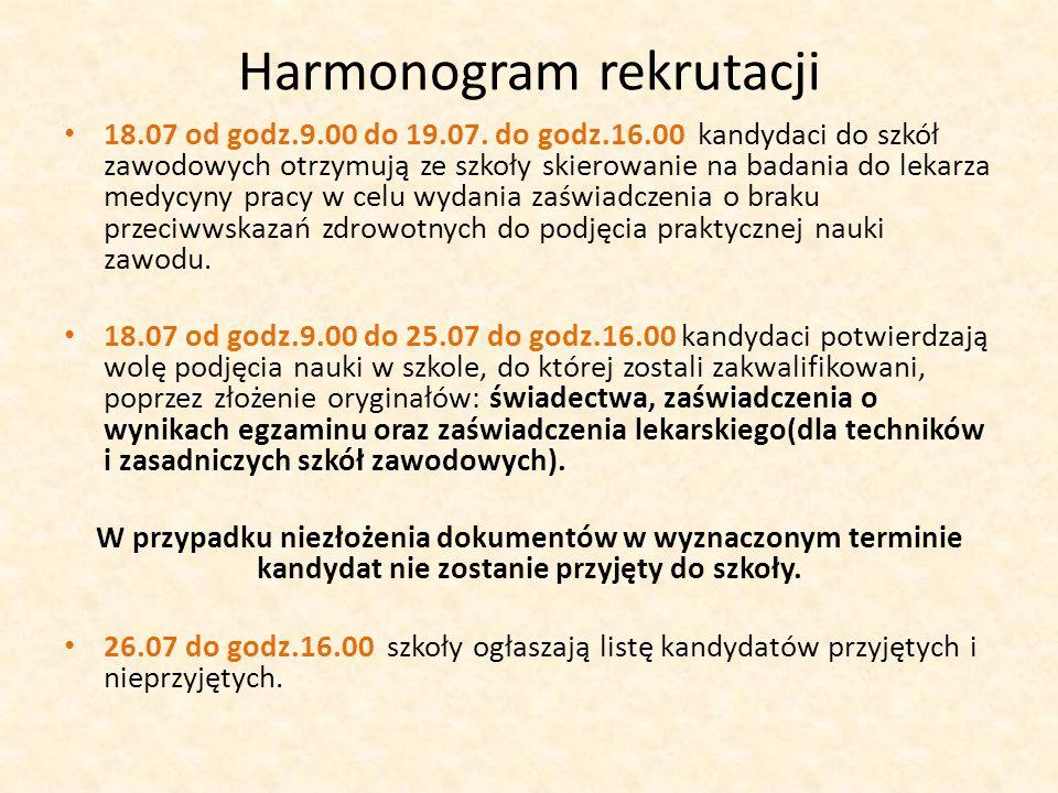 Harmonogram rekrutacji 18.07 od godz.9.00 do 19.07.
