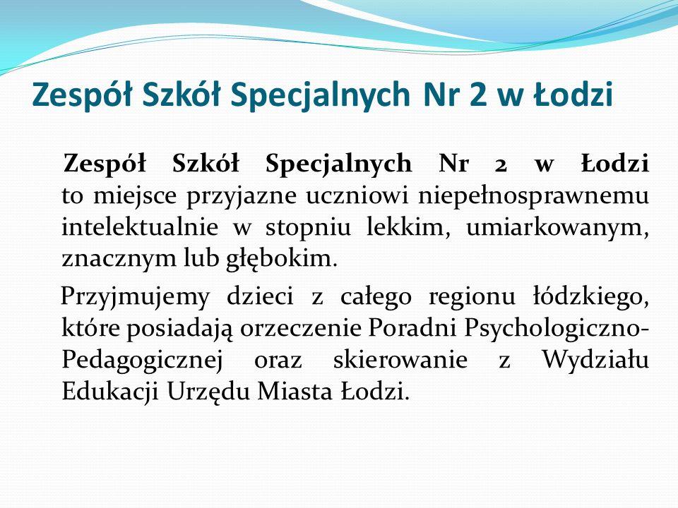 Zespół Szkół Specjalnych Nr 2 w Łodzi Zespół Szkół Specjalnych Nr 2 w Łodzi to miejsce przyjazne uczniowi niepełnosprawnemu intelektualnie w stopniu l