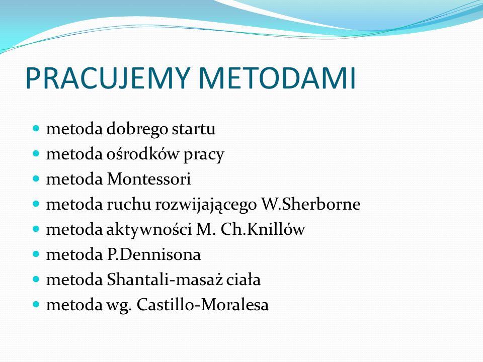 PRACUJEMY METODAMI metoda dobrego startu metoda ośrodków pracy metoda Montessori metoda ruchu rozwijającego W.Sherborne metoda aktywności M. Ch.Knilló