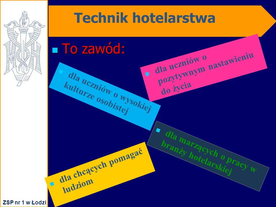 Technik hotelarstwa To zawód: To zawód: dla uczniów o wysokiej kulturze osobistej dla uczniów o pozytywnym nastawieniu do życia dla chcących pomagać ludziom dla marzących o pracy w branży hotelarskiej