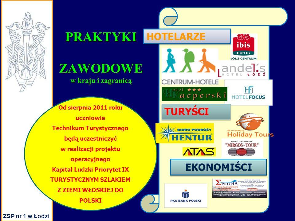 PRAKTYKIZAWODOWE w kraju i zagranicą EKONOMIŚCI HOTELARZE TURYŚCI ZSP nr 1 w Łodzi Od sierpnia 2011 roku uczniowie Technikum Turystycznego będą uczestniczyć w realizacji projektu operacyjnego Kapitał Ludzki Priorytet IX TURYSTYCZNYM SZLAKIEM Z ZIEMI WŁOSKIEJ DO POLSKI