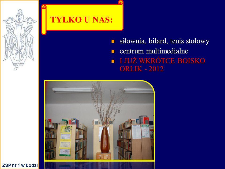 siłownia, bilard, tenis stołowy siłownia, bilard, tenis stołowy centrum multimedialne centrum multimedialne I JUŻ WKRÓTCE BOISKO ORLIK - 2012 I JUŻ WKRÓTCE BOISKO ORLIK - 2012 TYLKO U NAS: ZSP nr 1 w Łodzi