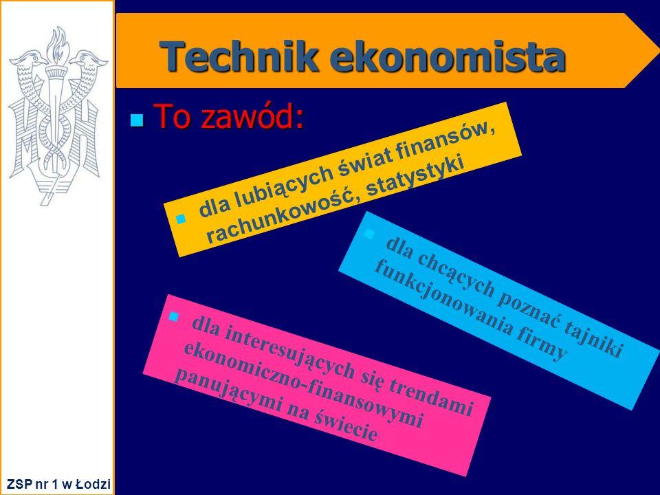 Technik ekonomista To zawód: To zawód: dla lubiących świat finansów, rachunkowość, statystyki dla chcących poznać tajniki funkcjonowania firmy dla interesujących się trendami ekonomiczno-finansowymi panującymi na świecie