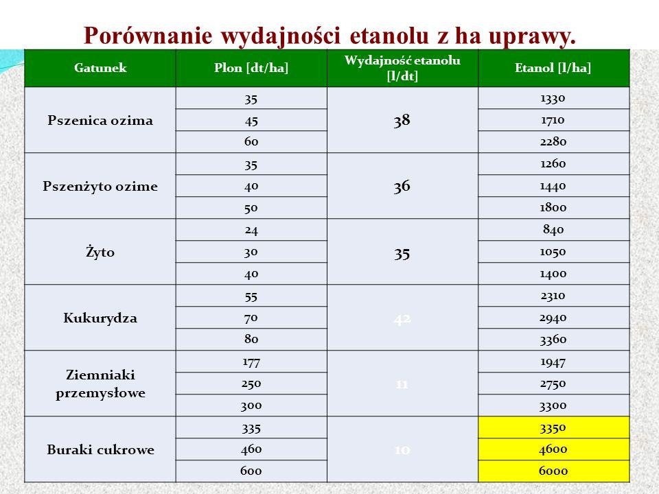 Porównanie wydajności etanolu z ha uprawy.