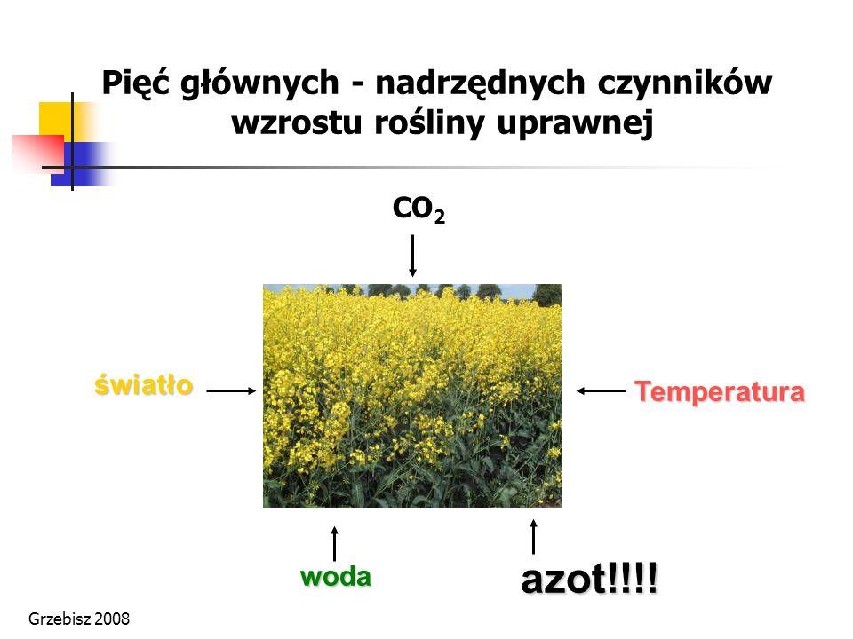woda światło azot!!!! Temperatura Pięć głównych - nadrzędnych czynników wzrostu rośliny uprawnej CO 2 Grzebisz 2008