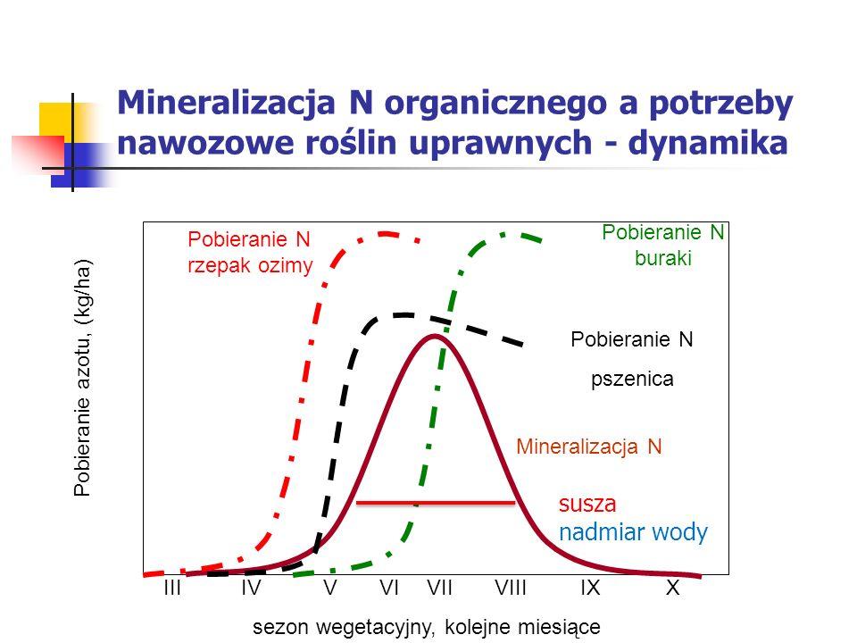 Mineralizacja N organicznego a potrzeby nawozowe roślin uprawnych - dynamika III IV V VI VIIVIIIIXX sezon wegetacyjny, kolejne miesiące Pobieranie azo