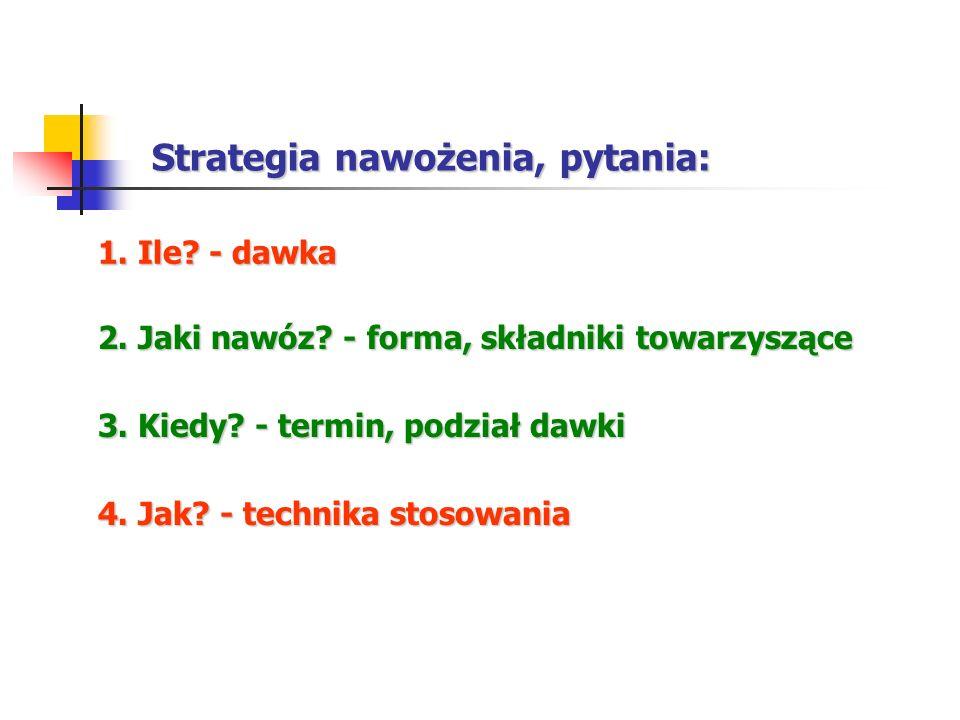 Strategia nawożenia, pytania: 1. Ile? - dawka 3. Kiedy? - termin, podział dawki 2. Jaki nawóz? - forma, składniki towarzyszące 4. Jak? - technika stos
