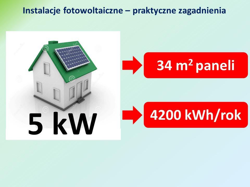 Instalacje fotowoltaiczne – praktyczne zagadnienia 5 kW 34 m 2 paneli 4200 kWh/rok