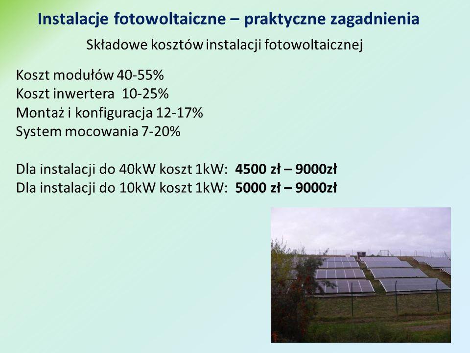 Koszt modułów 40-55% Koszt inwertera 10-25% Montaż i konfiguracja 12-17% System mocowania 7-20% Dla instalacji do 40kW koszt 1kW: 4500 zł – 9000zł Dla instalacji do 10kW koszt 1kW: 5000 zł – 9000zł Składowe kosztów instalacji fotowoltaicznej Instalacje fotowoltaiczne – praktyczne zagadnienia