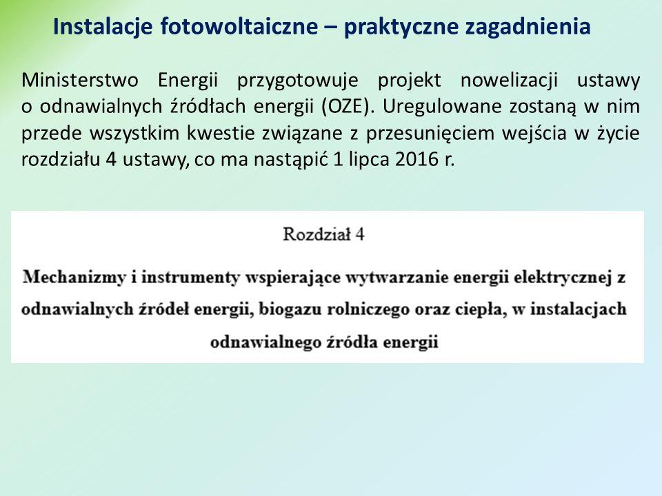 Ministerstwo Energii przygotowuje projekt nowelizacji ustawy o odnawialnych źródłach energii (OZE).