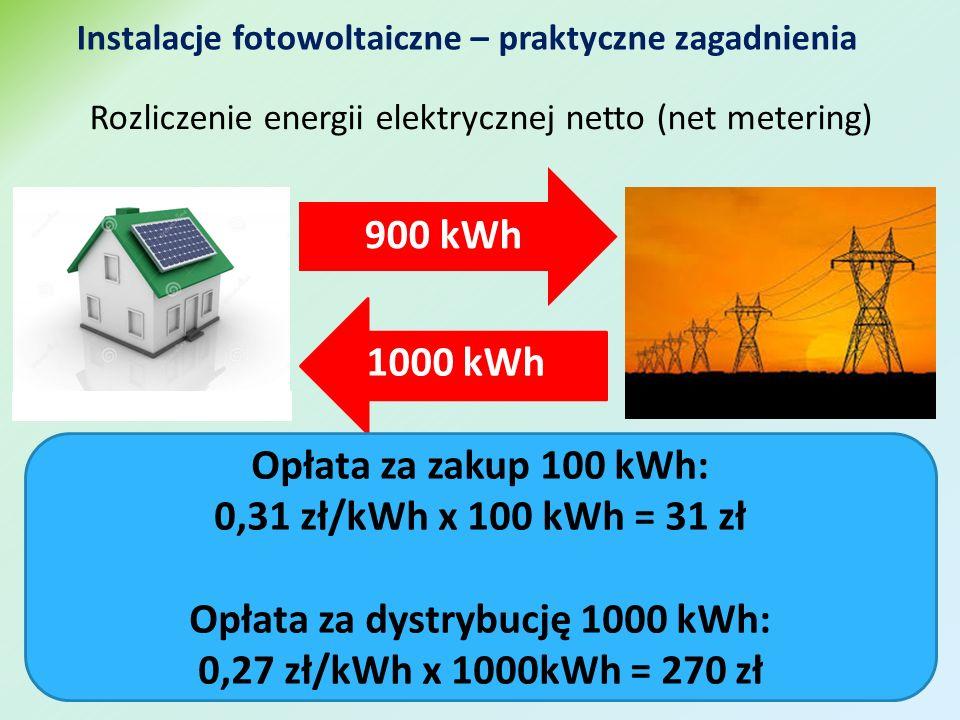 Instalacje fotowoltaiczne – praktyczne zagadnienia Rozliczenie energii elektrycznej netto (net metering) 900 kWh 1000 kWh Opłata za zakup 100 kWh: 0,31 zł/kWh x 100 kWh = 31 zł Opłata za dystrybucję 1000 kWh: 0,27 zł/kWh x 1000kWh = 270 zł