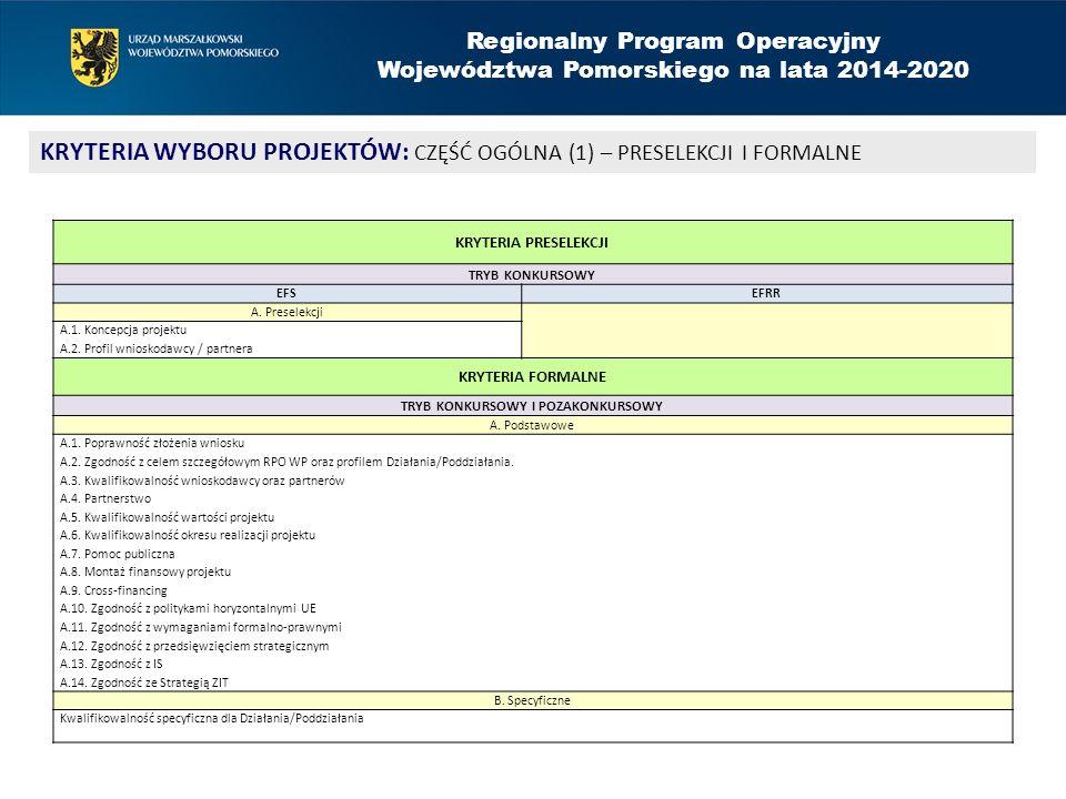 Regionalny Program Operacyjny Województwa Pomorskiego na lata 2014-2020 KRYTERIA WYBORU PROJEKTÓW: CZĘŚĆ OGÓLNA (1) – PRESELEKCJI I FORMALNE KRYTERIA PRESELEKCJI TRYB KONKURSOWY EFSEFRR A.
