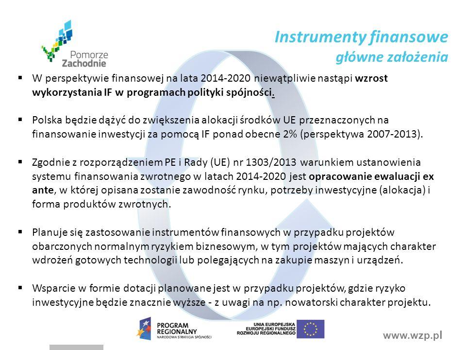 www.wzp.p l  W perspektywie finansowej na lata 2014-2020 niewątpliwie nastąpi wzrost wykorzystania IF w programach polityki spójności.
