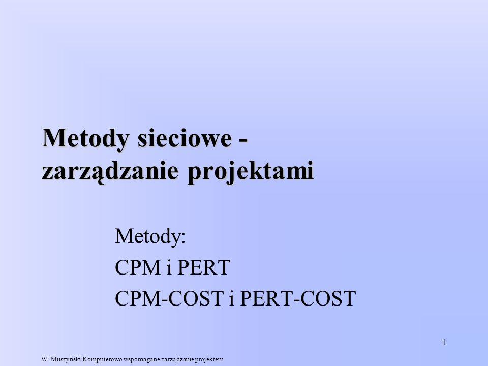 1 Metody sieciowe - zarządzanie projektami Metody: CPM i PERT CPM-COST i PERT-COST W. Muszyński Komputerowo wspomagane zarządzanie projektem