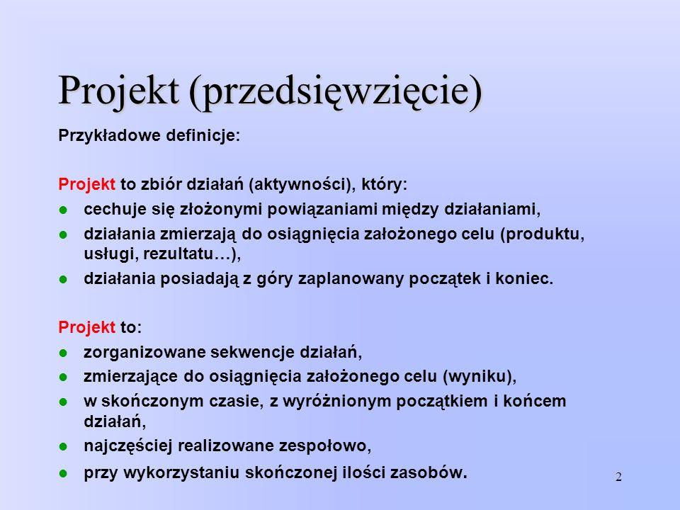 Projekt (przedsięwzięcie) Przykładowe definicje: Projekt to zbiór działań (aktywności), który: cechuje się złożonymi powiązaniami między działaniami,