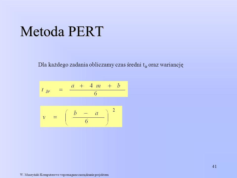 41 Metoda PERT W. Muszyński Komputerowo wspomagane zarządzanie projektem Dla każdego zadania obliczamy czas średni t śr oraz wariancję
