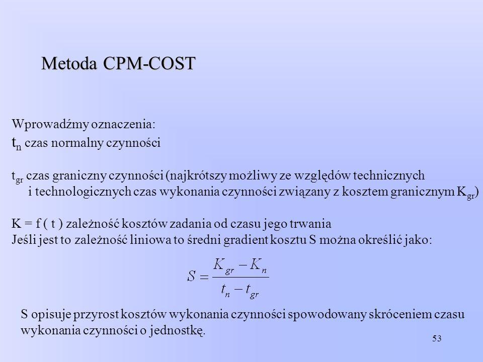 53 Metoda CPM-COST Wprowadźmy oznaczenia: t n czas normalny czynności t gr czas graniczny czynności (najkrótszy możliwy ze względów technicznych i tec