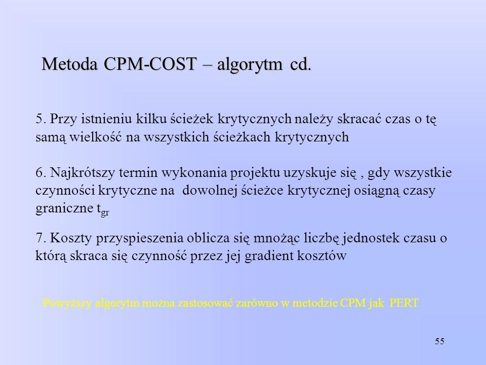 55 Metoda CPM-COST – algorytm cd. 5. Przy istnieniu kilku ścieżek krytycznych należy skracać czas o tę samą wielkość na wszystkich ścieżkach krytyczny