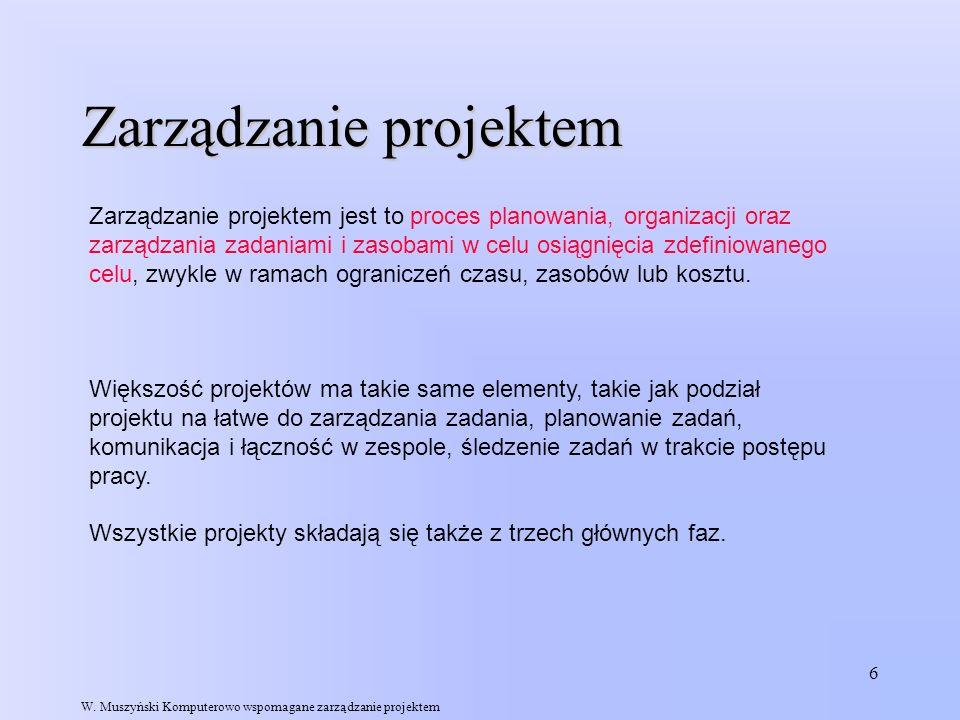 7 Trzy fazy każdego projektu Budowa planu Śledzenie i zarządzanie projektem Zamykanie projektu W.