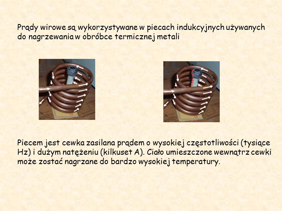 Prądy wirowe są wykorzystywane w piecach indukcyjnych używanych do nagrzewania w obróbce termicznej metali Piecem jest cewka zasilana prądem o wysokiej częstotliwości (tysiące Hz) i dużym natężeniu (kilkuset A).