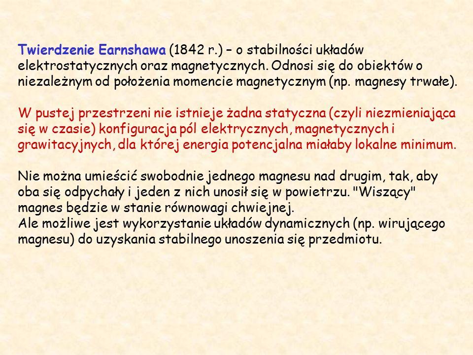 Twierdzenie Earnshawa (1842 r.) – o stabilności układów elektrostatycznych oraz magnetycznych.